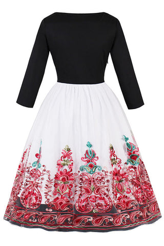 Atomic Red Floral Organza Swing Dress