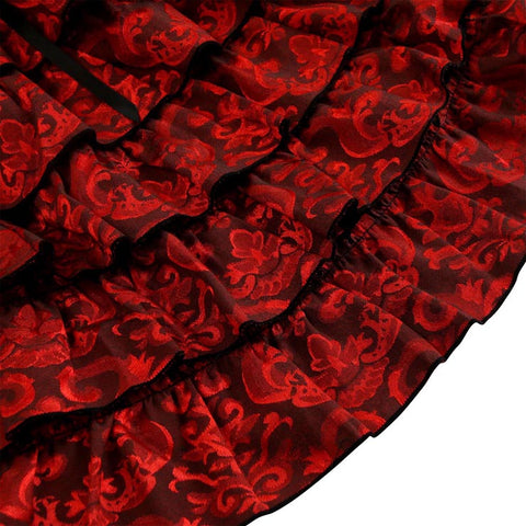 Atomic Red Jacquard Ruffled Fishtail Skirt