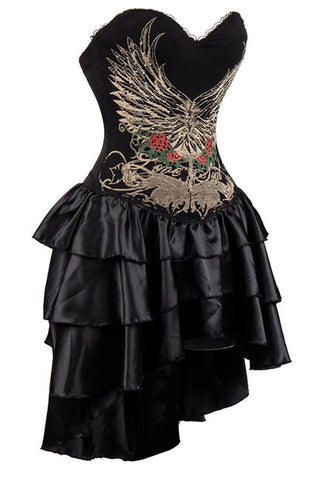 Black Winged and Floral Corset Dress