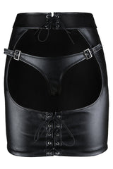 Atomic Faux Leather Open Hip Mini Skirt