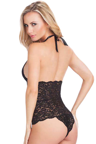 Black Lace Halter Neck Teddy Lingerie