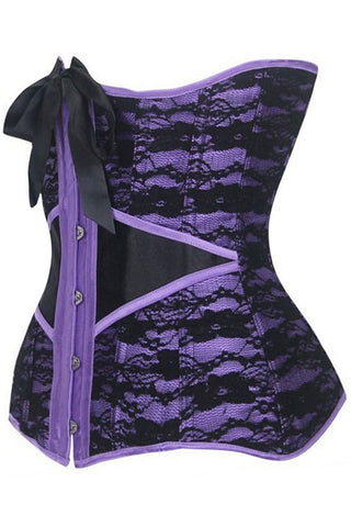 Purple Steel Waist Training Underbust Corset