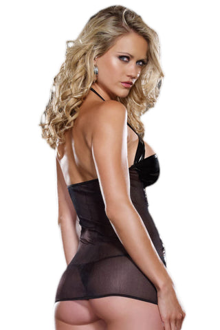 Black Wet Look Cut Out Chemise