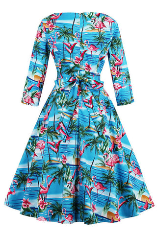 Blue Flamingo Feels Swing Dress