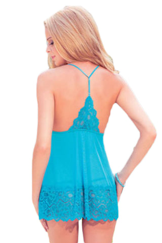 Blue Coquette Open Back Babydoll