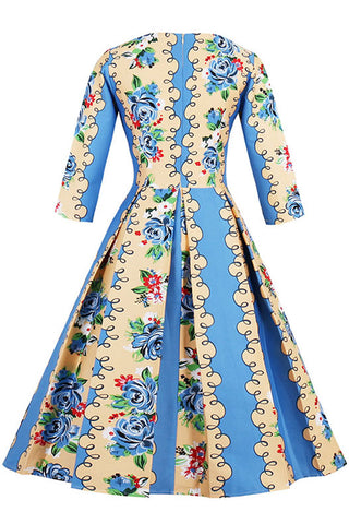Blue Spiral Floral Swing Dress