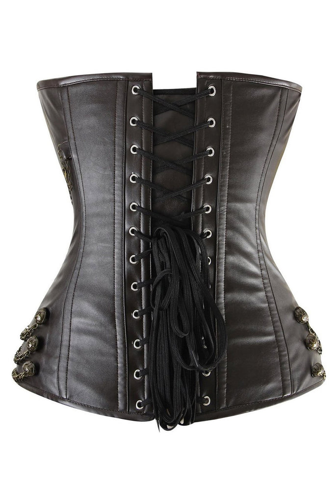 f6905dffec0 Atomic Brown Faux Leather Chains Steam Overbust Corset