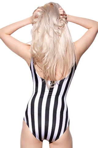 Black and White Striped One Piece