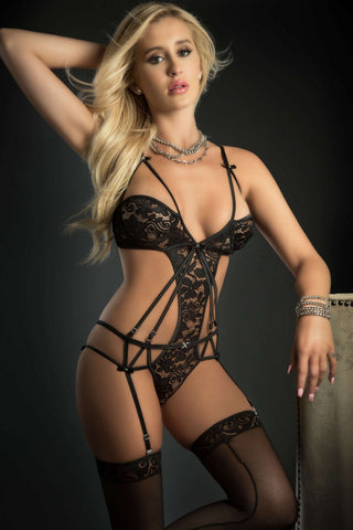 G World Embroidered Lace Garter Teddy