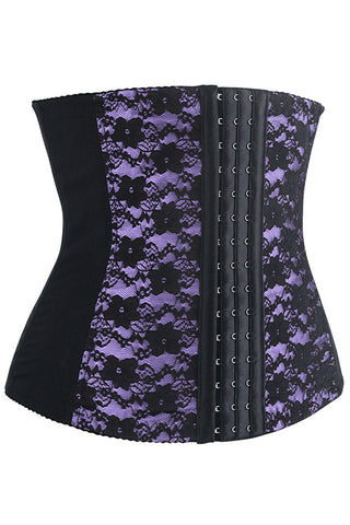 Purple and Black Lace Steel Boned Underbust Corset