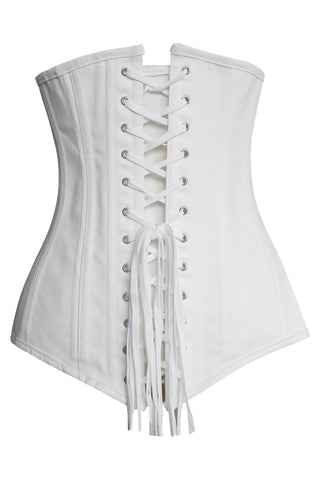White Cotton Long Underbust Corset