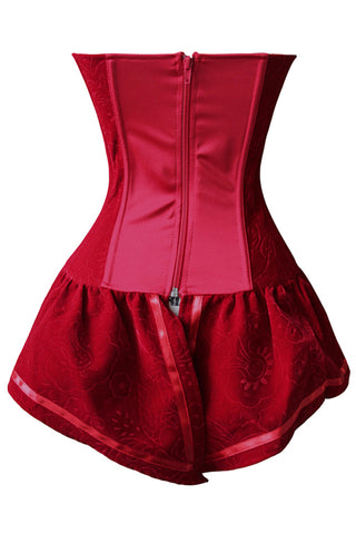 Atomic Red Brocade Skirted Overbust Corset