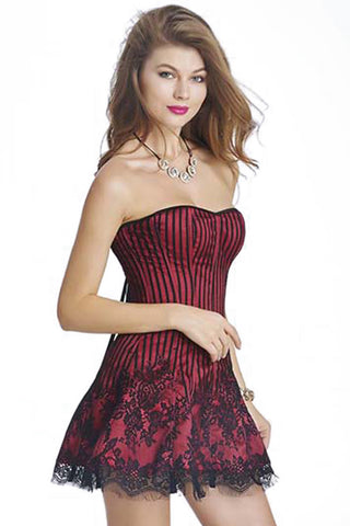 Red Strapless Stripe Lace Corset Dress