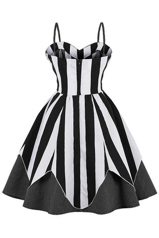 Black Striped and Dotted Swing Dress