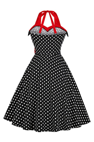 Vintage Bow and Polka Dots Swing Dress