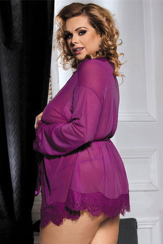 Purple Eyelash Lace Robe