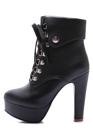 Lace-Up Motorcycle High Heel Boots