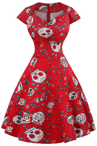 Red Candy Skull Ruffled Swing Dress