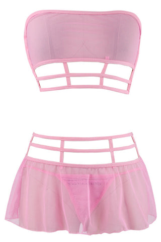 Pink Strappy Mesh Top and Skirt Set