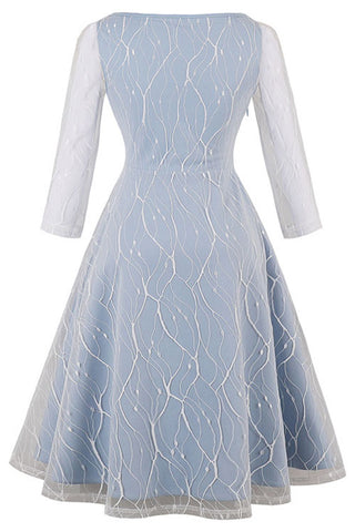 Light Blue Cracked Mesh Swing Dress