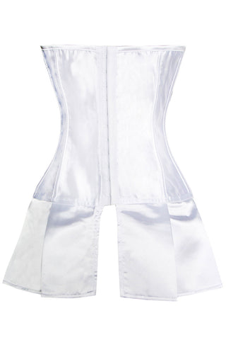 Little White Lace Up Skirted Corset