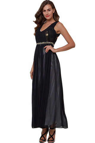 Black Ruffled Tulle Evening Dress