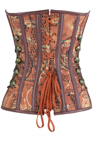 Brown Steampunk Jacquard Steel Boned Corset