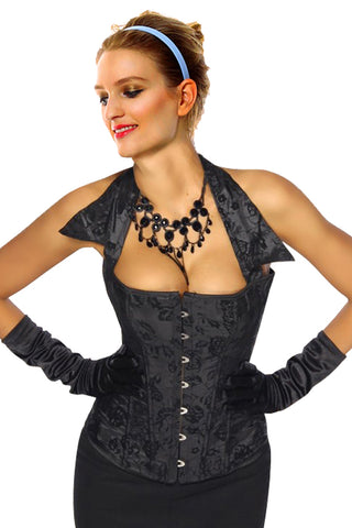 Black Floral Collared Corset