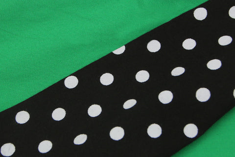Atomic Green and Black Polka Dot Pleated Swing Dress