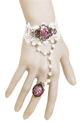 White Lace And Pink Rose Bracelet with Ring