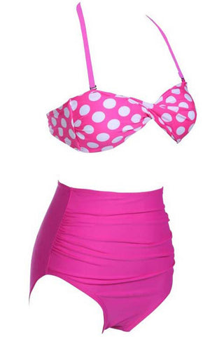 Hot Pink Polka Dot High-Waisted Bikini Set