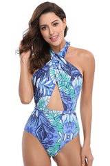Blue Floral Crisscross Halter One Piece