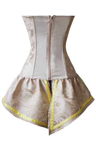 Champagne Brocade Skirted Overbust Corset