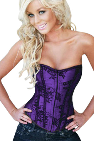 Atomic Purple Satin Floral Overbust Corset