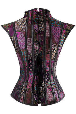 Purple Steel Boned Jacquard Overbust Corset with Shrug