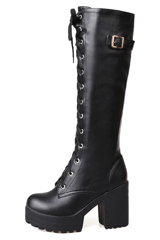Laced and Buckled Knee High Boots