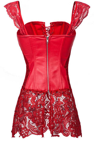 Red Seduction PVC and Lace Bustier