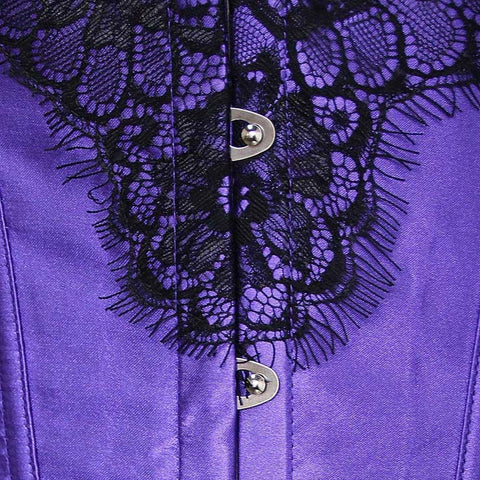 Atomic Purple Swirl Black Lace Overlay Corset
