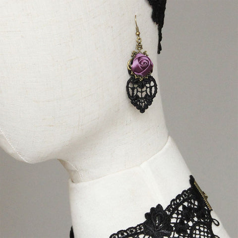 Black Lace and Purple Rose Earrings