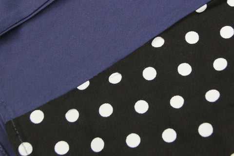 Atomic Dark Blue and Black Polka Dot Pleated Swing Dress