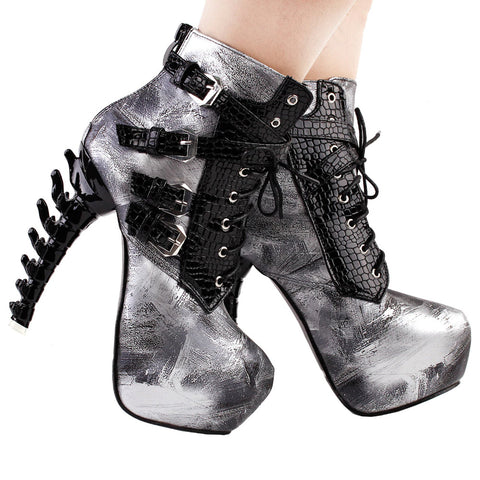 Punk Bone High Heel Ankle Boots
