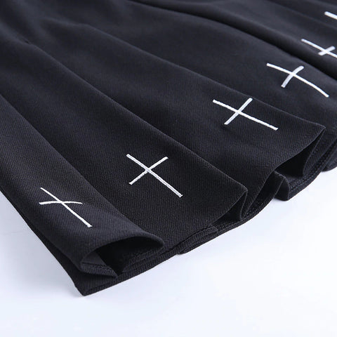 Atomic Cross Print Pleated Gothic Skirt