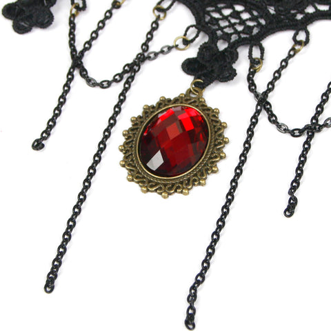 Atomic Black Lace And Red Pendant Choker Necklace