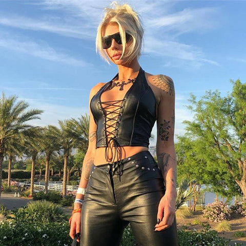 Black PU Leather Lace Up Crop Top