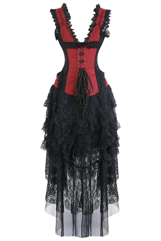 Red Burlesque Inspired Corset and Skirt Set