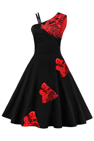 Red Embroidered Butterfly Swing Dress