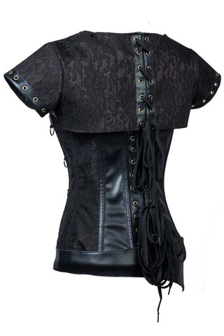 Black Steampunk Steel Boned Brocade Corset