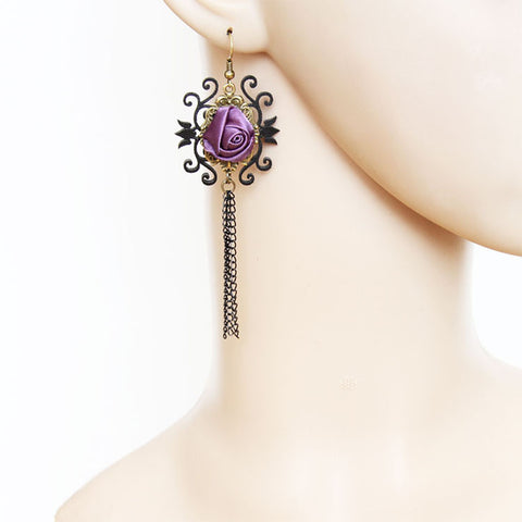 Purple Rose Tassel Earrings