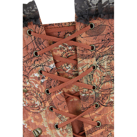Atomic Brown Steel Boned Steampunk Overbust Corset