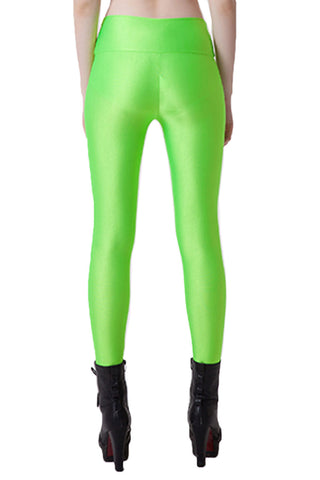 Light Green Stretchy Leggings With Front Zipper